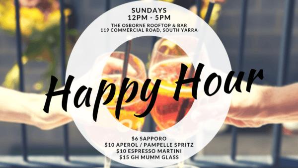 Happy Hour Sundays - Osborne Rooftop - South Yarra