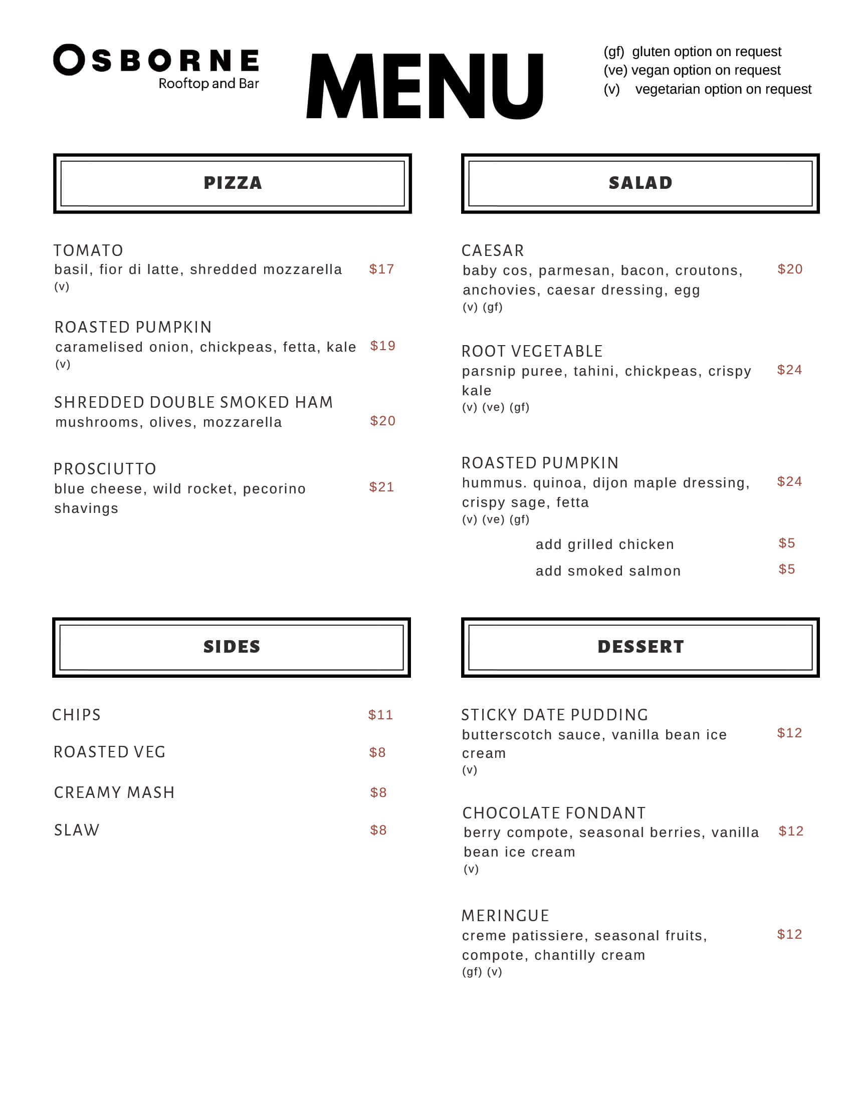 The Osborne Food Menu